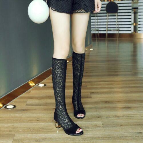 Chic Womens Mesh Open Toe Roman Knee High Sandal Boots Mid Block Heels Zip Shoes