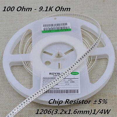 200pcslot 1206 Chip Resistor 5 14w Smd Smt Resistance 100r 1k 4k7 To 9.1k
