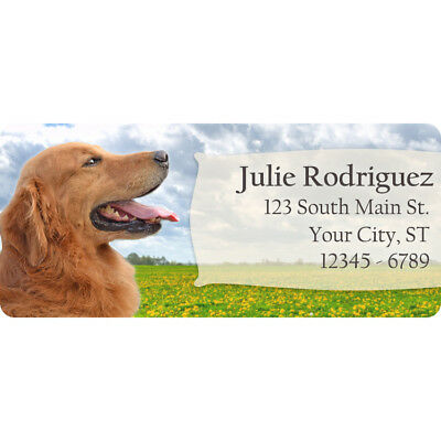 Golden Retriever Dog Puppy Personalized Return Address Labels 60 Labels