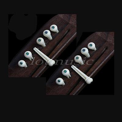 2 Set Acoustic Guitar Bridge Pins  End Pin Abalone Pearl Dot Inlay Parts Ivory Ivory Pearl Dot