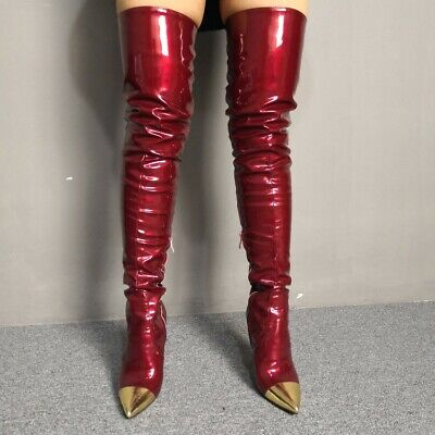 Red Knee Boots (Fashion Women Over the Knee Boots Stiletto Heels Wine Red Shoes Woman Size)