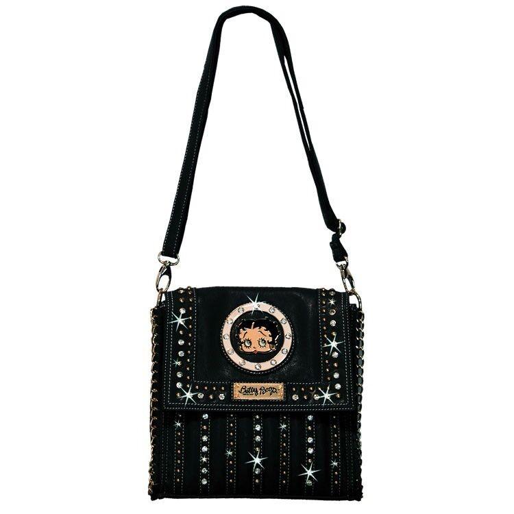Betty Boop Rhinestone Deep Envelope Bag by Sharon Purse Handbag Black KF-4010