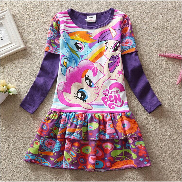 Kids Girl Princess My Little Pony Dress 100% Cotton Long Sle