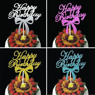 Kids Bowknot Happy Birthday Toppers Cake Cupcake Bunting Banner Party - Cupcake Happy Birthday Banner