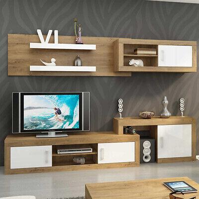 Parete attrezzata SUSAN Gihome ® larice bianco lucido mobile soggiorno moderno