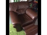 Excellent condition brown leather recliner