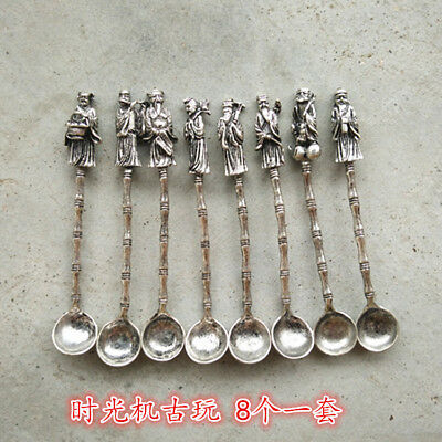 Handmade  white copper Chinese traditional lucky god herbal spoon 8