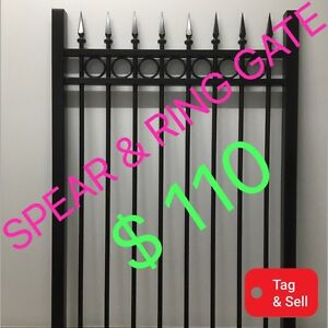 PEDESTRIAN GATE, SPEAR & RING BLACK POWDERCOATED Salisbury South Salisbury Area Preview