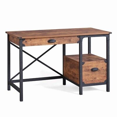 Rustic Desk Industrial Computer Workstation Country Writing Table Home -