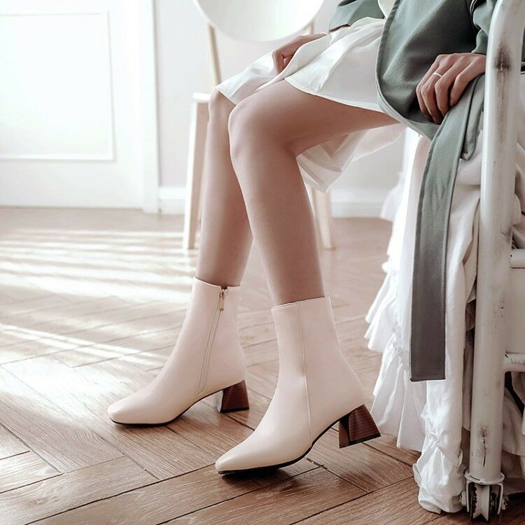 Winter Women Casual Zipper Squared Toe Ankle Boots Block Heels Chelsea Pumps 1