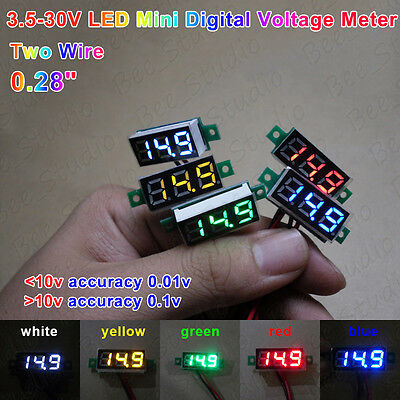 Led Mini Micro Digital Voltage Meter 2-wires 0.28 High Accuracy 3.5-30v 12v 24v