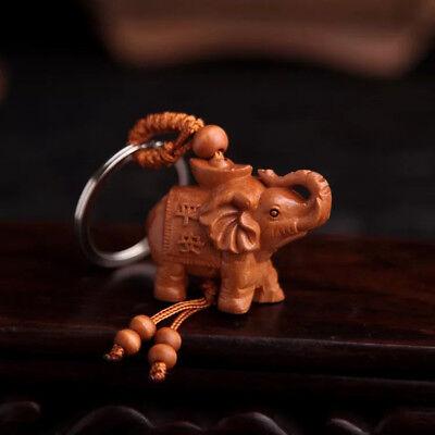 Feng Shui Peach Wood Elephant Key Ring /Key Chain For good fortune