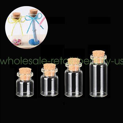Bulk 0.5/1/2/5/10ml Mini DIY Clear Glass Jars Wishing Bottles + Cork Stoppers - Mini Jars Bulk