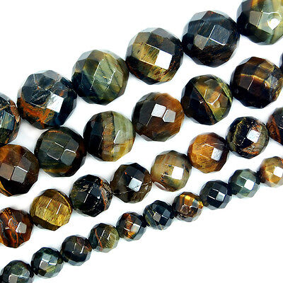 Natural Faceted Yellow Blue Tiger Eye Round Beads 15.5