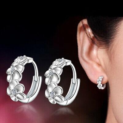 Elegant CZ Hawaiian 3 Plumeria Flower Hoop Huggie Earrings for Women Girl