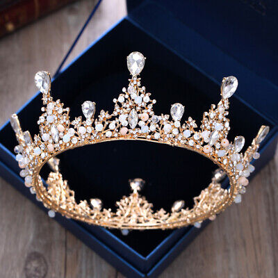 Gold Tiaras And Crowns (Vintage Crystals Gold Bridal Crowns and Tiaras Wedding Prom Headdress)