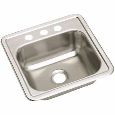 "Kingsford Stainless Steel 15"" x 15"" 3 hole Single Bowl Top Mount K115153"