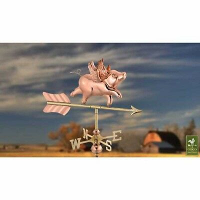 - NEW! Flying Pig Garden Weathervane, Polished Copper w/Roof Mount!!