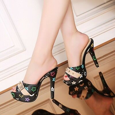 Peep Toe High Stilettos Heel Slip On Mules Slipper Sexy Women Shoes Sandals New ()