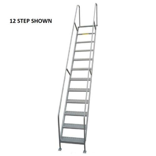 "NEW! P.W. Platforms 9 Step Steel Access Stairway, 24"" Step Width!!"