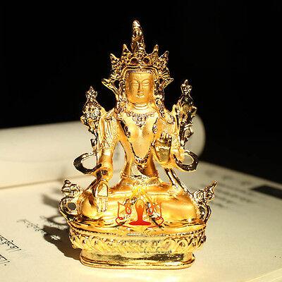 Tibet Tibetan Buddha Buddhist Mikky Gild White Tara  Statue Family Hall  Car