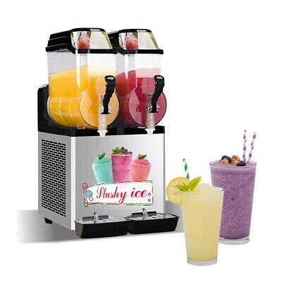 Commercial 2x12l Tanks Ice Slush Machine Margarita Smoothie Frozen Drink Maker