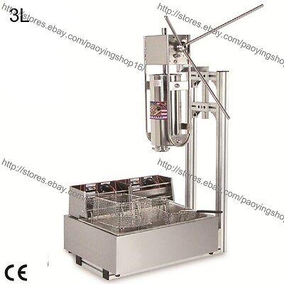 Heavy Duty 3l Vertical Manual Spanish Churro Maker Machine W 12l Electric Fryer