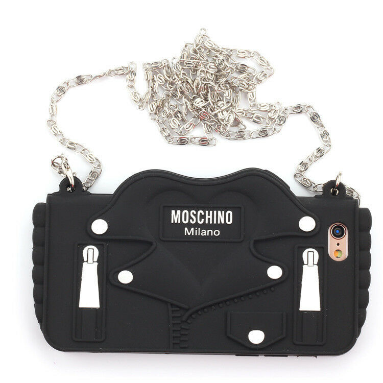 on sale ab67d bf843 Details about 3D MOSCHINO Silicone Phone Case Black Jacket For iPhone X XS  Max XR 6 7 8 Plus