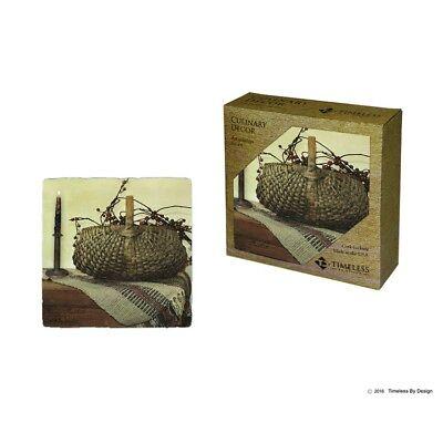 Berry Basket Stoneware Coasters, Set of 4, Billy Jacobs, Ceramic, Cork, Rustic - Cork Coasters Bulk