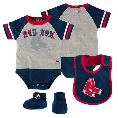 Boston Red Sox Infant Newborn Baby Boy Creeper, Bib, Booties Set FREE (Infant Creeper Bib)