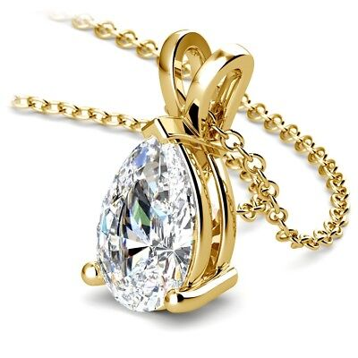 Pear Cut GIA Diamond Pendant 2.60 Carat I/VS2 Solitaire 14K Yellow Gold Necklace