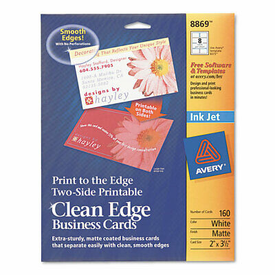 Avery Print-to-the-edge True Print Business Cards Inkjet 2x3 12 Wht 160pk