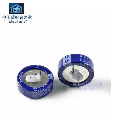 2pcs 5.5v 1f Super Farad Capacitor 1.0f 20mm7mm Coin-c Electric Memory Backup