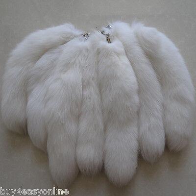 10pcs/Lot Large Luxury White Real Fox Tail Keychain Fur Tassel Bag Tag Charm