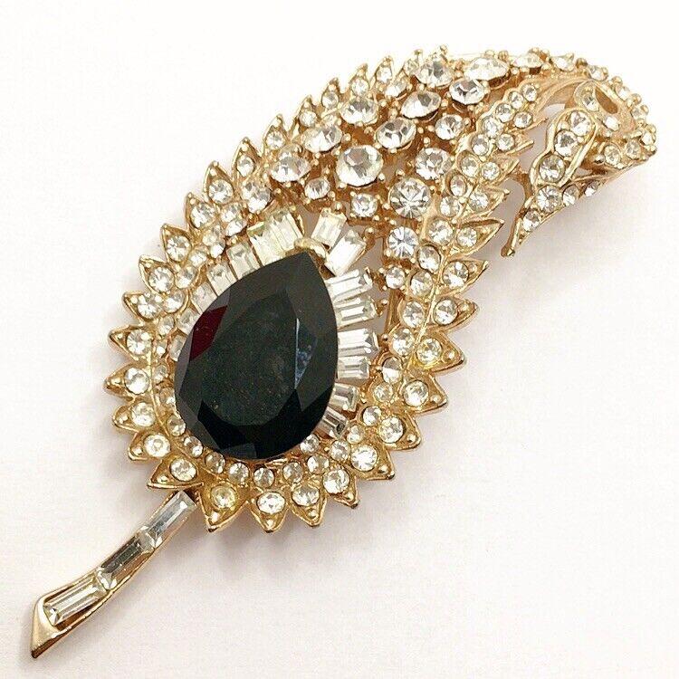 🌿Vintage Clear Black Rhinestone Paisley Leaf Feather Brooch Pin Lot B Jewelry