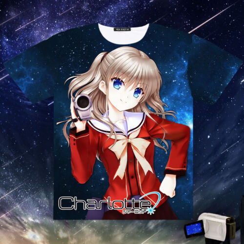Charlotte Tomori Nao Japanese Anime Leisure Full Color Casual Tops T-Shirt New