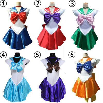 Sailor Moon Costume Womens Halloween Cosplay School Uniform Fancy Dress Gloves (Sailor Costume Womens)