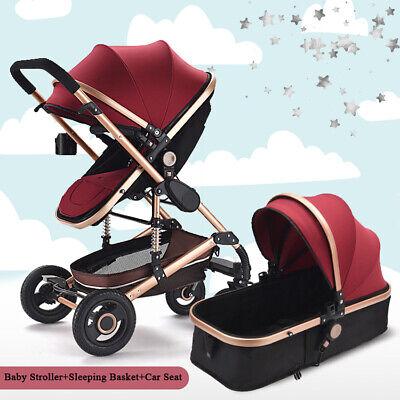 Baby Pram Newborn Buggy 3 in 1 Car Seat Carrycot Combi Travel System Pushchair