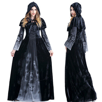 Womens Halloween Costumes Witch Cosplay Fancy Dress Sorceress Outfit Skeleton