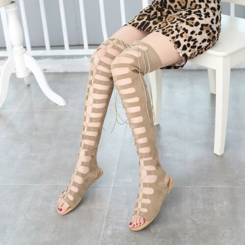Details about Womens Open Toe Gladiator Sandals Cross Strap Over Knee High Boots Flat Shoes