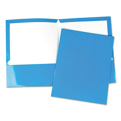 UPC 087547564196 product image for Laminated Two-pocket Folder, Cardboard Paper, Blue, 11 X 8 1/2, 25/box | upcitemdb.com