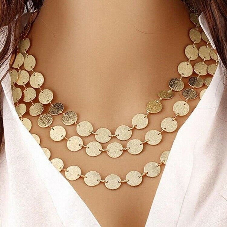 Jewellery - UK BOHO CHIC DISC CHARM MULTI LAYER STATEMENT NECKLACE Fashion Jewellery Gift