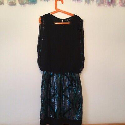 Spotlight by Warehouse Black Blue Green Sequin Dress Size 6 Xmas (Warehouse Nye)