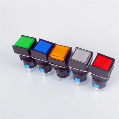 5pcs 16mm Square Momentary Push Button Switch Self-locking Led Light 5-pins 12v