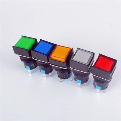 5pcs 16mm Square Momentary Push Button Switch Self-locking Led Light 5-pins 12v