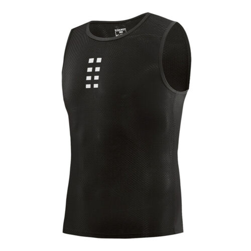 Men Cycling Base Layer Sleeveless Black Vest Mesh Lightweight Top Running Sports