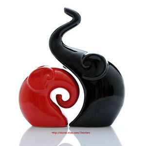 Pair-of-Elephants-Figurines-Black-amp-Red-Ceramic-Pottery-Ornaments-Home-Decor-NEW