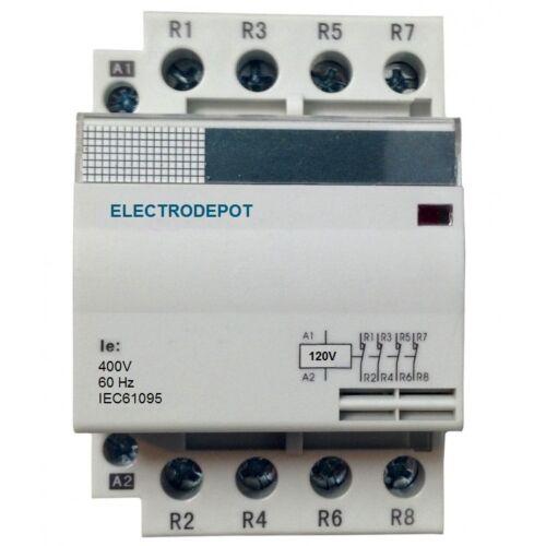 40 AMP Lighting Contactor NO 40A, 4 Pole 110V 120V coil, 30a 50a 60a DIN Silent