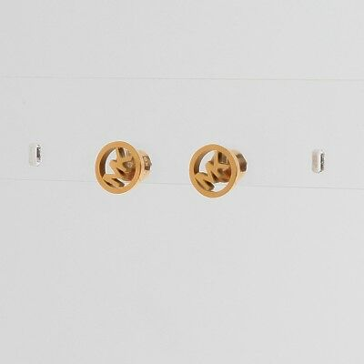 Michael Kors Gold Tone Logo Stud Earrings