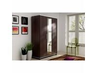 BRAND NEW 3 DOOR MIRRORED WARDROBE WITH MULTIPLE SHELVES AND HANGING RAILS IN BEECH/WHITE